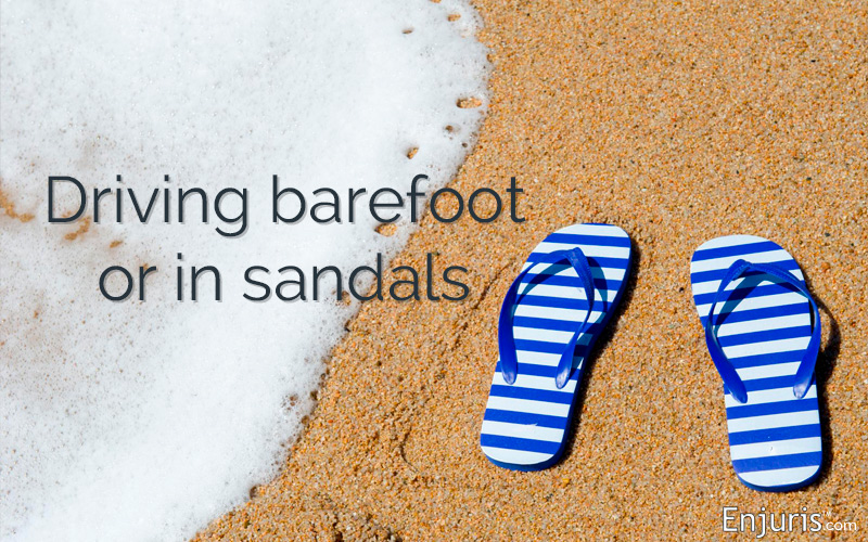 Driving barefoot or in flip flops is legal in Florida