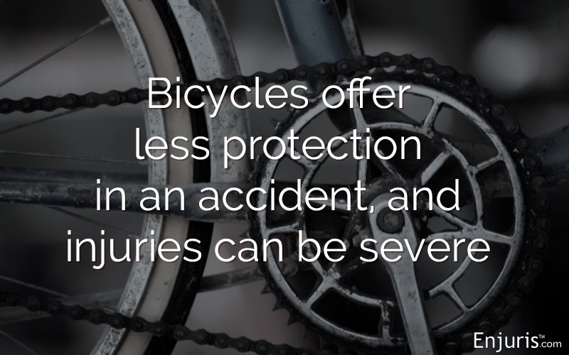 Bicycles offer less protection in an accident, and injuries can be severe